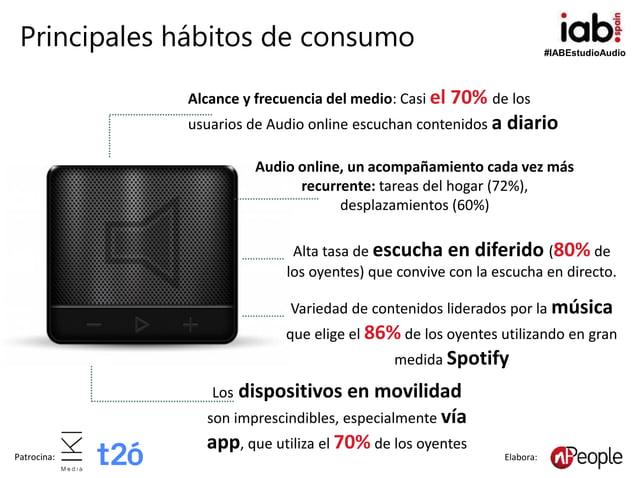 #IABEstudioAudio Patrocina: Elabora: Alcance y frecuencia del medio: Casi el 70% de los usuarios de Audio online escuchan ...