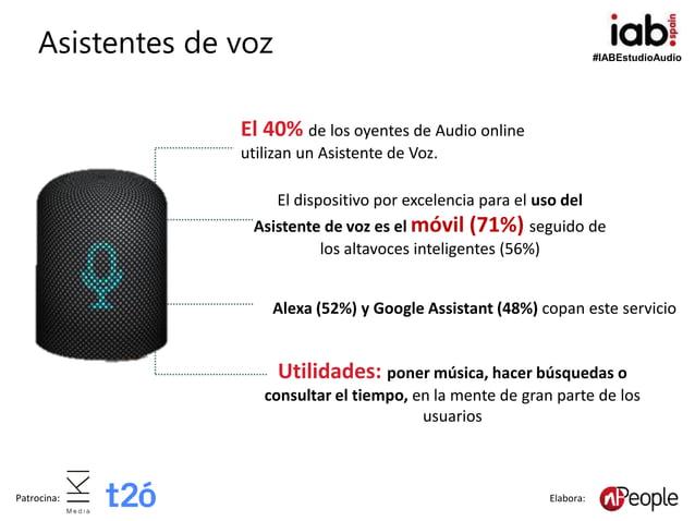 #IABEstudioAudio Patrocina: Elabora: Asistentes de voz Alexa (52%) y Google Assistant (48%) copan este servicio El 40% de ...