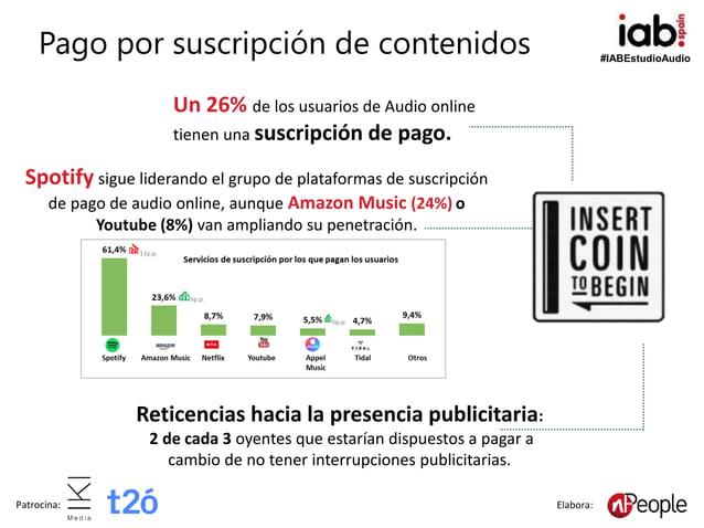 #IABEstudioAudio Patrocina: Elabora: Pago por suscripción de contenidos Reticencias hacia la presencia publicitaria: 2 de ...