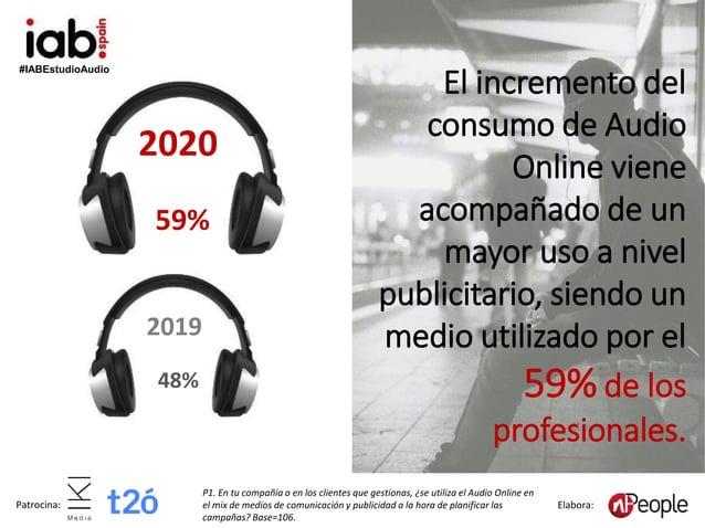 #IABEstudioAudio Patrocina: Elabora: El incremento del consumo de Audio Online viene acompañado de un mayor uso a nivel pu...