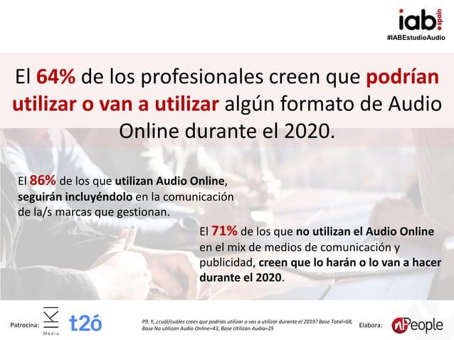 #IABEstudioAudio Patrocina: Elabora: El 64% de los profesionales creen que podrían utilizar o van a utilizar algún formato...