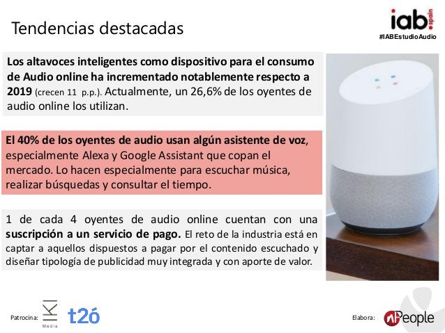 #IABEstudioAudio Patrocina: Elabora: Los altavoces inteligentes como dispositivo para el consumo de Audio online ha increm...