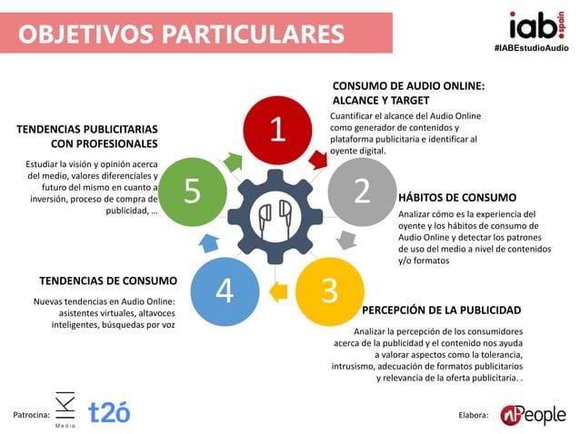 #IABEstudioAudio Patrocina: Elabora: OBJETIVOS PARTICULARES 1 2 34 5 CONSUMO DE AUDIO ONLINE: ALCANCE Y TARGET Cuantificar...