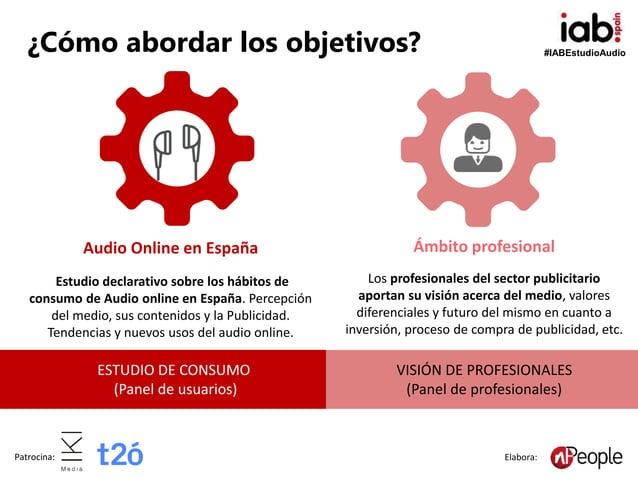 #IABEstudioAudio Patrocina: Elabora: Audio Online en España Estudio declarativo sobre los hábitos de consumo de Audio onli...