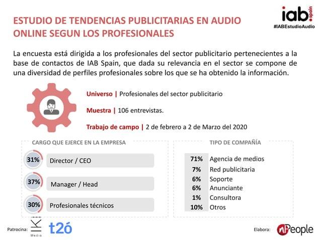 #IABEstudioAudio Patrocina: Elabora: ESTUDIO DE TENDENCIAS PUBLICITARIAS EN AUDIO ONLINE SEGUN LOS PROFESIONALES Universo ...