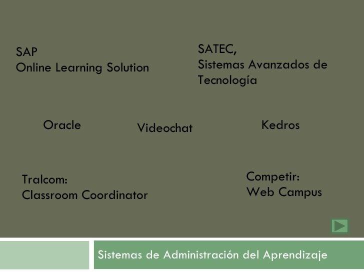 Sistemas de Administración del Aprendizaje Videochat Competir:  Web Campus SAP  Online Learning Solution Tralcom:  Classro...