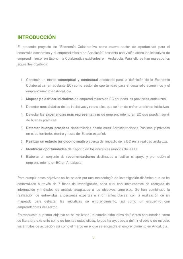 """7 INTRODUCCIÓN El presente proyecto de """"Economía Colaborativa como nuevo sector de oportunidad para el desarrollo económic..."""