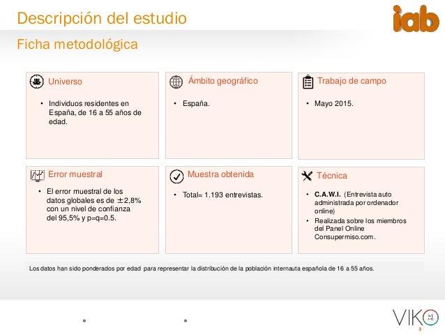 3 Universo Muestra obtenida Trabajo de campo Técnica Ámbito geográfico Error muestral • Individuos residentes en España, d...
