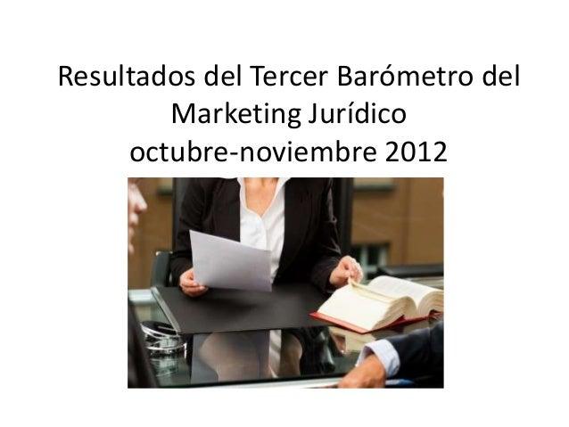 Resultados del Tercer Barómetro delMarketing Jurídicooctubre-noviembre 2012
