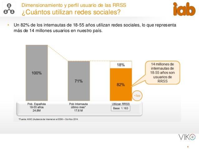4 Dimensionamiento y perfil usuario de las RRSS ¿Cuántos utilizan redes sociales? • Un 82% de los internautas de 18-55 año...