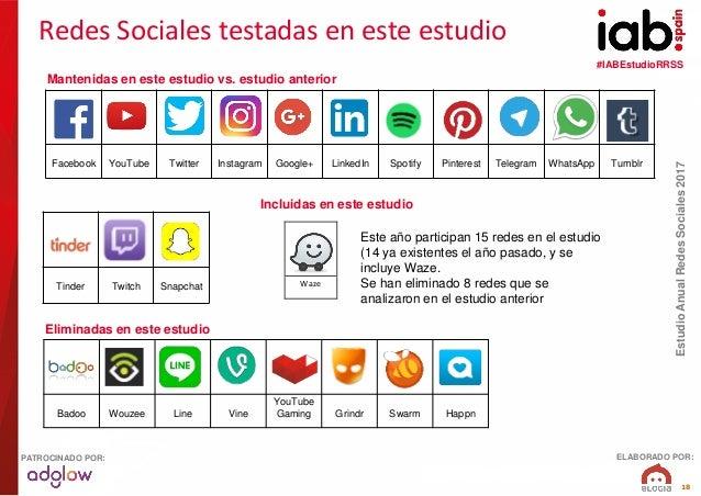 #IABEstudioRRSS EstudioAnualRedesSociales2017 ELABORADO POR:PATROCINADO POR: 18 Tinder Twitch Snapchat Facebook YouTube Tw...