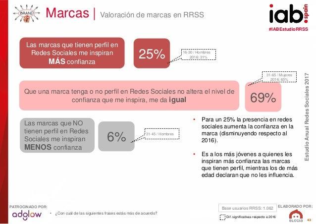 #IABEstudioRRSS EstudioAnualRedesSociales2017 ELABORADO POR:PATROCINADO POR: 43 Marcas   Valoración de marcas en RRSS Las ...