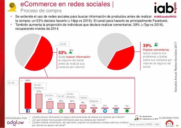 #IABEstudioRRSS EstudioAnualRedesSociales2017 ELABORADO POR:PATROCINADO POR: 48 eCommerce en redes sociales   Proceso de c...