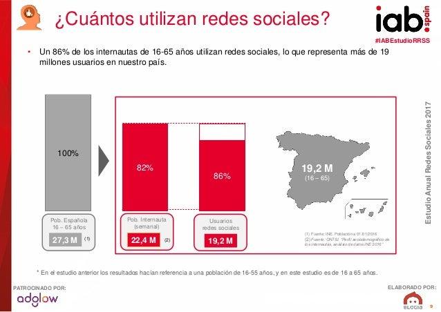 #IABEstudioRRSS EstudioAnualRedesSociales2017 ELABORADO POR:PATROCINADO POR: 9 • Un 86% de los internautas de 16-65 años u...