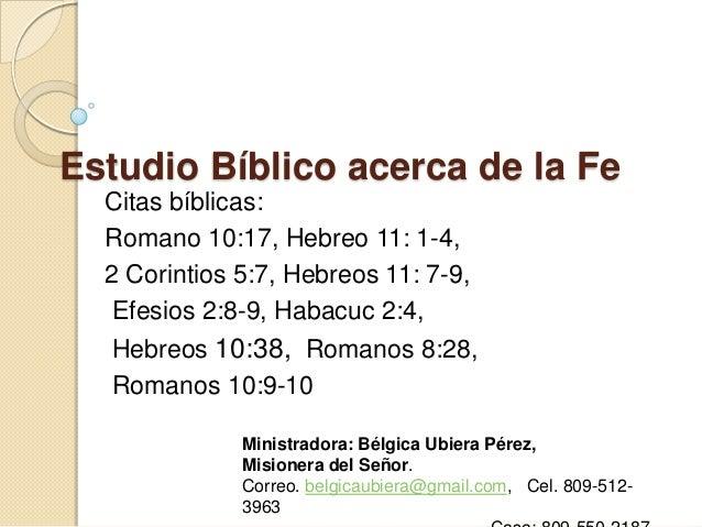 Estudio Bíblico Acerca De La Fe
