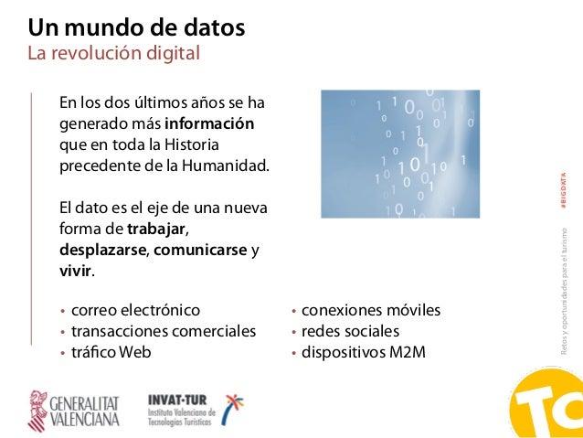 Retosyoportunidadesparaelturismo#BIGDATA Un mundo de datos La revolución digital En los dos últimos años se ha generado má...