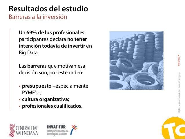 Retosyoportunidadesparaelturismo#BIGDATA Resultados del estudio Barreras a la inversión Un 69% de los profesionales partic...