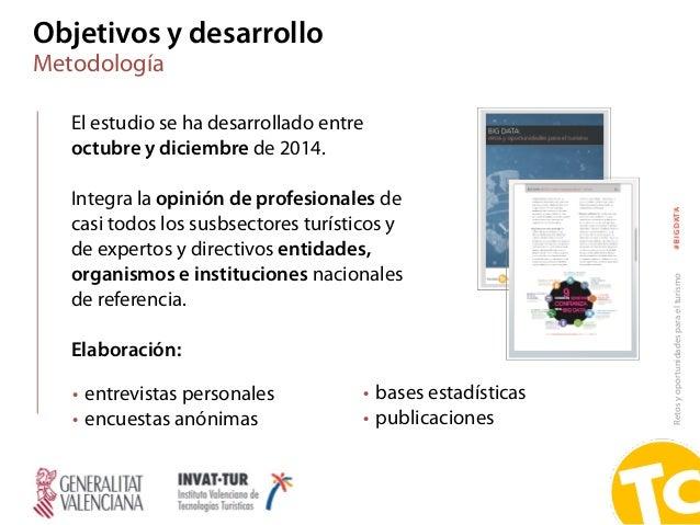 Retosyoportunidadesparaelturismo#BIGDATA Objetivos y desarrollo Metodología El estudio se ha desarrollado entre octubre y ...