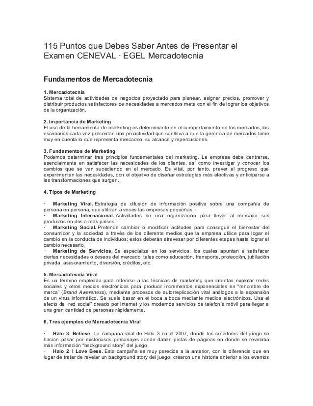115 Puntos que Debes Saber Antes de Presentar el Examen CENEVAL · EGEL Mercadotecnia Fundamentos de Mercadotecnia 1. Merca...