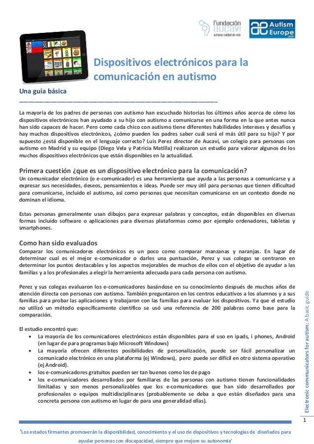 Dispositivos electrónicos para la                                 comunicación en autismoUna guía básica__________________...