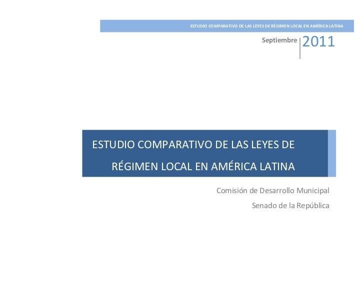 ESTUDIO COMPARATIVO DE LAS LEYES DE RÉGIMEN LOCAL EN AMÉRIC...