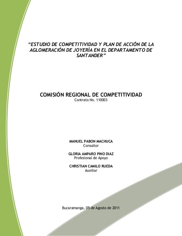 """""""ESTUDIO DE COMPETITIVIDAD Y PLAN DE ACCIÓN DE LA AGLOMERACIÓN DE JOYERÍA EN EL DEPARTAMENTO DE                  SANTANDER..."""
