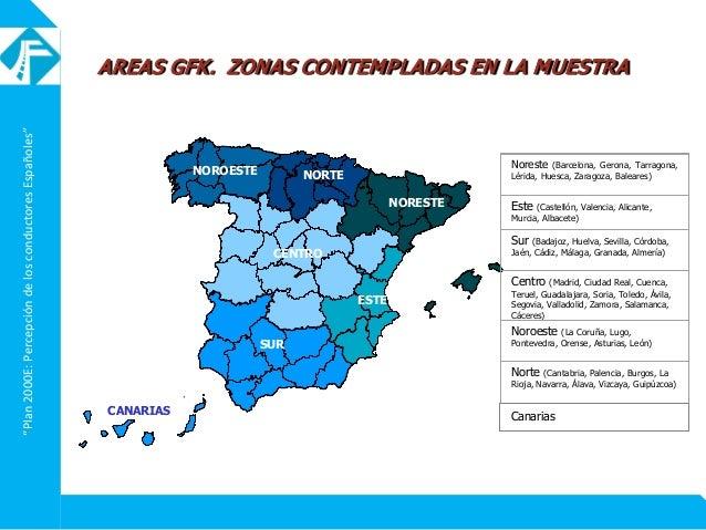"""""""Plan2000E:PercepcióndelosconductoresEspañoles"""" NORESTE ESTE CENTRO NORTENOROESTE SUR Noreste (Barcelona, Gerona, Tarragon..."""