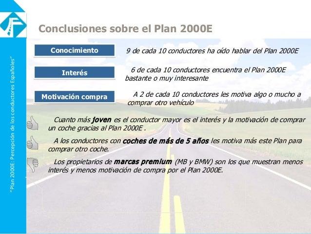 """""""Plan2000E:PercepcióndelosconductoresEspañoles"""" Conclusiones sobre el Plan 2000E Conocimiento 9 de cada 10 conductores ha ..."""