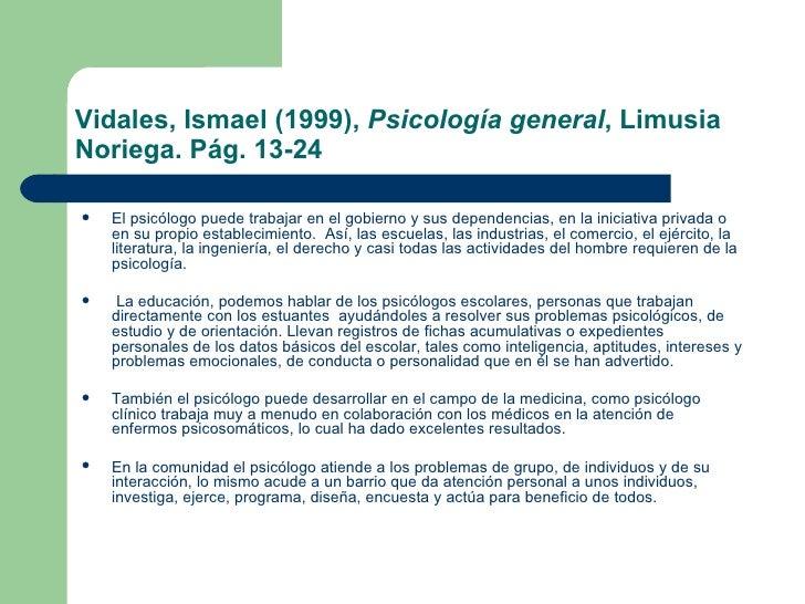 Psicologia general ismael vidales