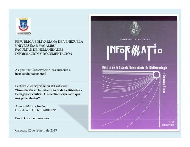 REPÚBLICA BOLIVARIANA DE VENEZUELA UNIVERSIDAD YACAMBÚUNIVERSIDAD YACAMBÚ FACULTAD DE HUMANIDADES INFORMACIÓN Y DOCUMENTAC...