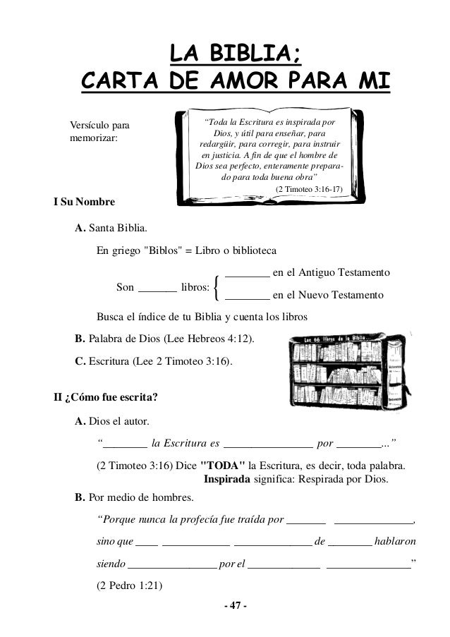 """- 47 - LA BIBLIA; CARTA DE AMOR PARA MI I Su Nombre A. Santa Biblia. En griego """"Biblos"""" = Libro o biblioteca ________ en e..."""