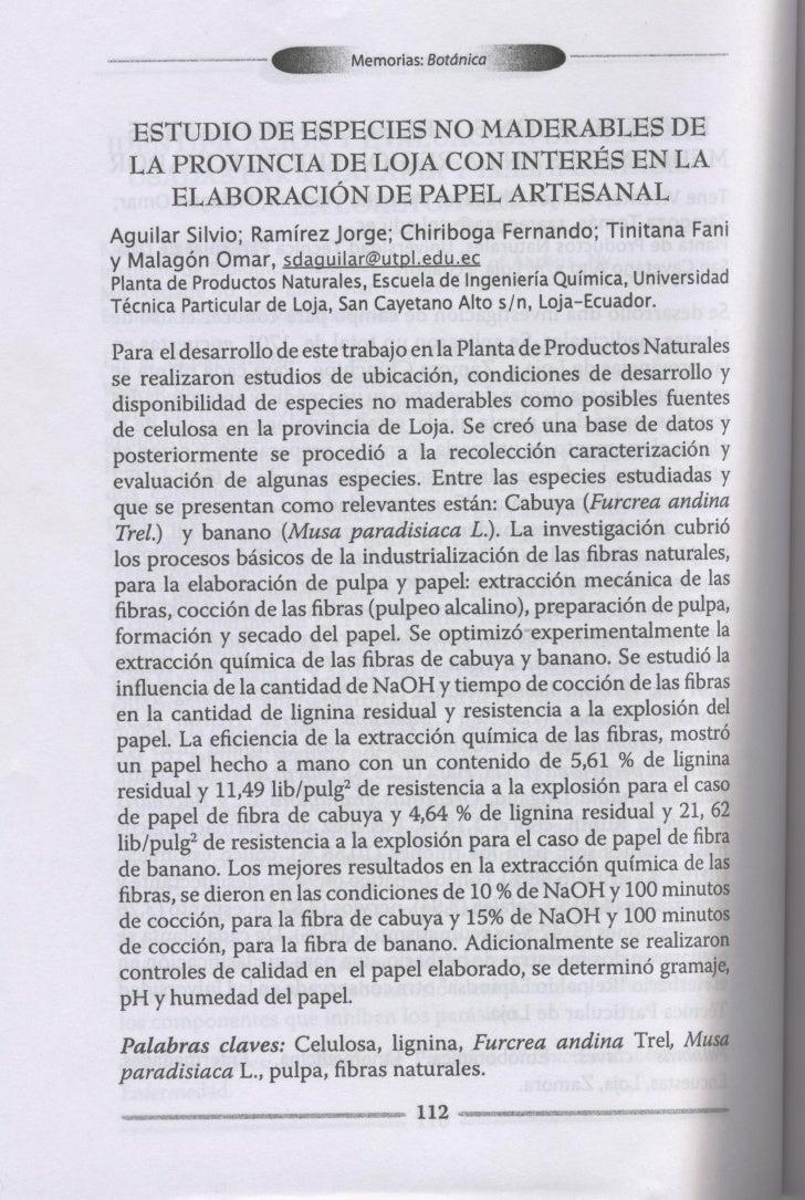 Estudio De Especies No Maderables De La Provincia De Loja Con InteréS En La ElaboracióN De Papel Artesanal.