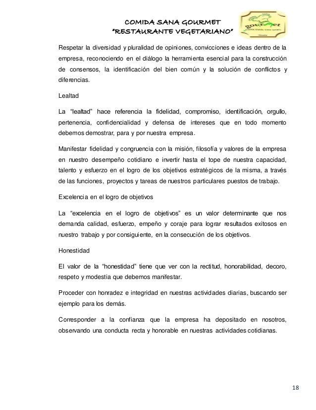 Estudio de factibilidad para la creación del restaurante COMIDA SANA …