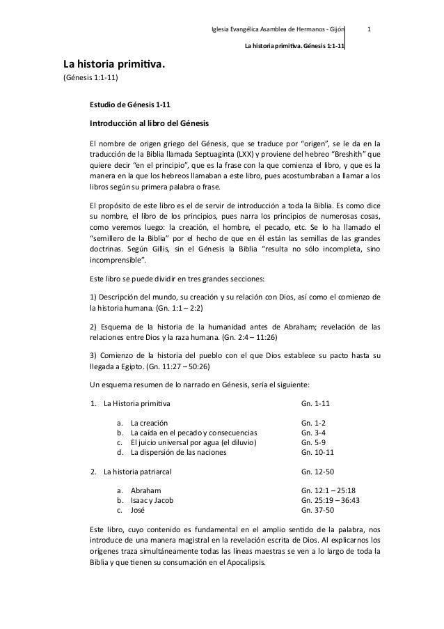 Iglesia Evangélica Asamblea de Hermanos -‐ Gijón  1  La historia primi,va. Génesis 1:1-‐11  La historia prim...