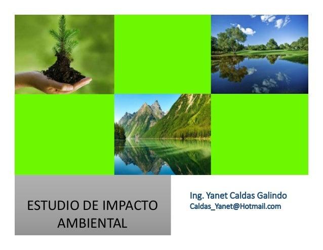 ESTUDIO DE IMPACTO AMBIENTAL Ing. Yanet Caldas Galindo Caldas_Yanet@Hotmail.com
