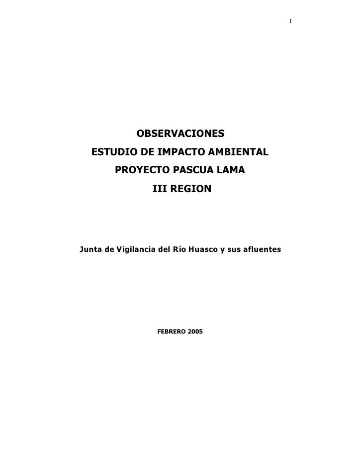 1                   OBSERVACIONES   ESTUDIO DE IMPACTO AMBIENTAL         PROYECTO PASCUA LAMA                   III REGION...
