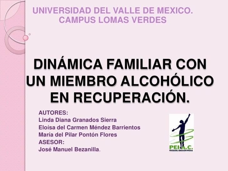 UNIVERSIDAD DEL VALLE DE MEXICO.<br />CAMPUS LOMAS VERDES<br />DINÁMICA FAMILIAR CON  UN MIEMBRO ALCOHÓLICO EN RECUPERACIÓ...