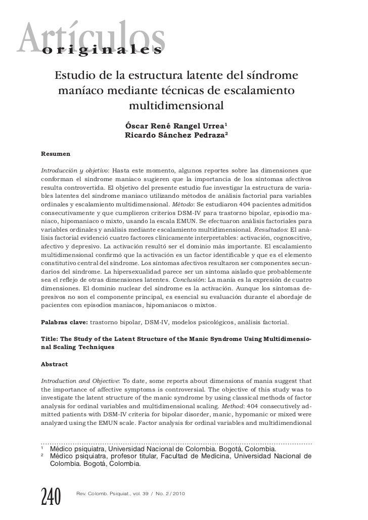Artículos originales      Estudio de la estructura latente del síndrome       maníaco mediante técnicas de escalamiento   ...