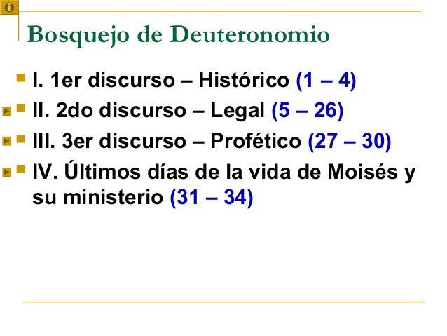 Bosquejo de Deuteronomio I. 1er discurso – Histórico (1 – 4) II. 2do discurso – Legal (5 – 26) III. 3er discurso – Prof...