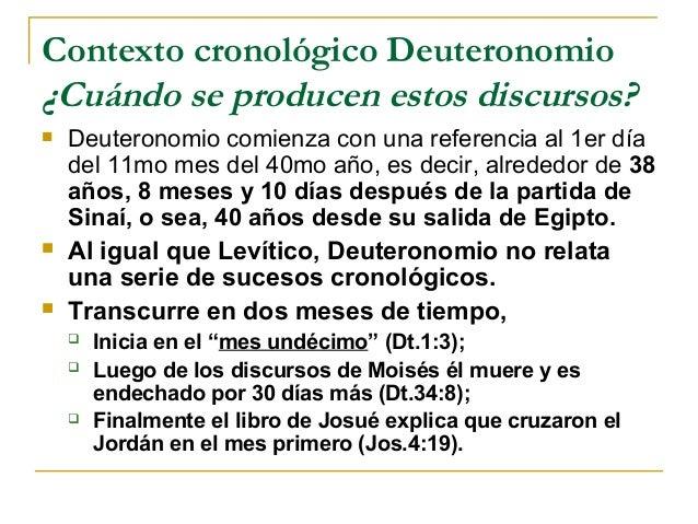 Contexto cronológico Deuteronomio¿Cuándo se producen estos discursos?   Deuteronomio comienza con una referencia al 1er d...