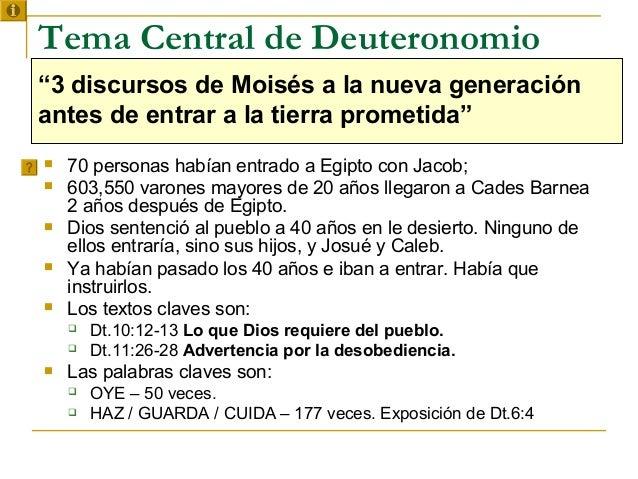 """Tema Central de Deuteronomio""""3 discursos de Moisés a la nueva generaciónantes de entrar a la tierra prometida""""   70 perso..."""