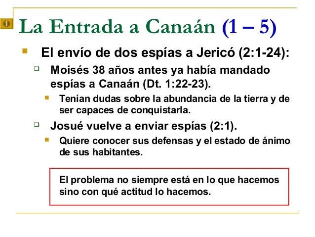 La Entrada a Canaán (1 – 5)       El envío de dos espías a Jericó (2:1-24):           Moisés 38 años antes ya había mand...