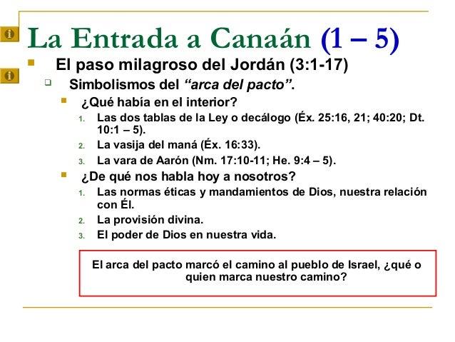 """La Entrada a Canaán (1 – 5)       El paso milagroso del Jordán (3:1-17)           Simbolismos del """"arca del pacto"""".     ..."""