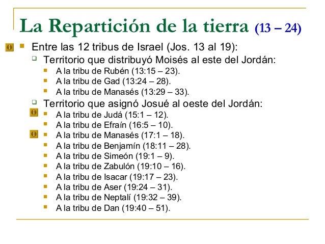 La Repartición de la tierra (13 – 24)   Entre las 12 tribus de Israel (Jos. 13 al 19):     Territorio que distribuyó Moi...