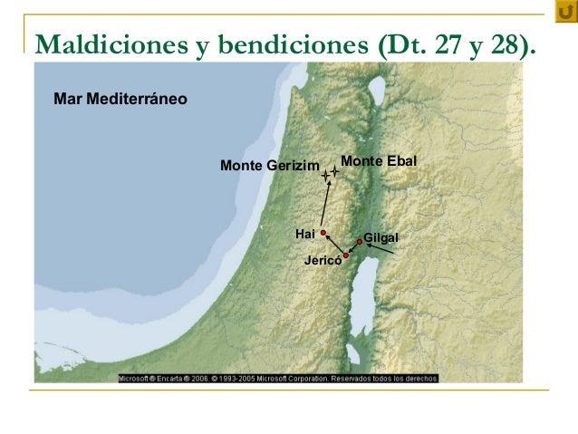 Maldiciones y bendiciones (Dt. 27 y 28). Mar Mediterráneo                    Monte Gerizim   Monte Ebal                   ...