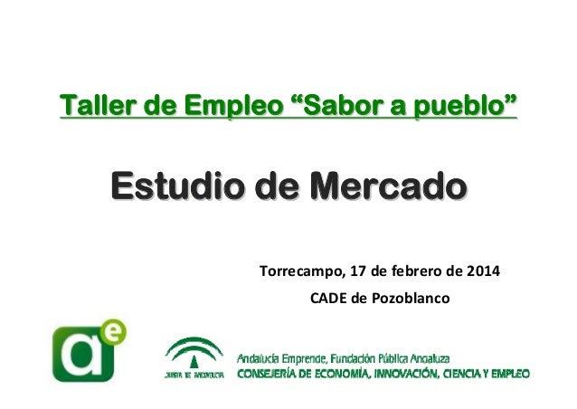 """Taller de Empleo """"Sabor a pueblo"""" """"Sabor pueblo""""  Estudio de Mercado Torrecampo,17defebrerode2014 CADEdePozoblanco ..."""
