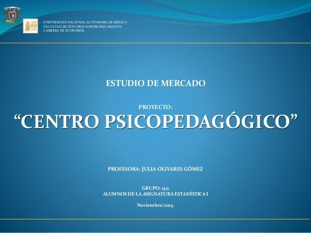 UNIVERSIDAD NACIONAL AUTÓNOMA DE MÉXICO FACULTAD DE ESTUDIOS SUPERIORES ARAGÓN CARRERA DE ECONOMÍA ESTUDIO DE MERCADO PROY...