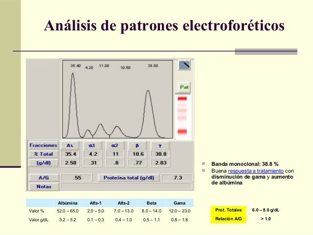 Albúmina Alfa-1 Alfa-2 Beta Gama Valor % 52.0 – 65.0 2.0 – 5.0 7.0 – 13.0 8.0 – 14.0 12.0 – 23.0 Valor g/dL 3.2 – 5.2 0.1 ...