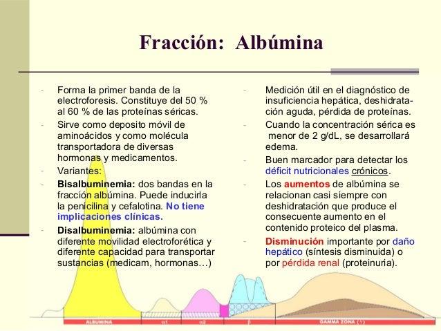Fracción: Albúmina - Forma la primer banda de la electroforesis. Constituye del 50 % al 60 % de las proteínas séricas. - S...
