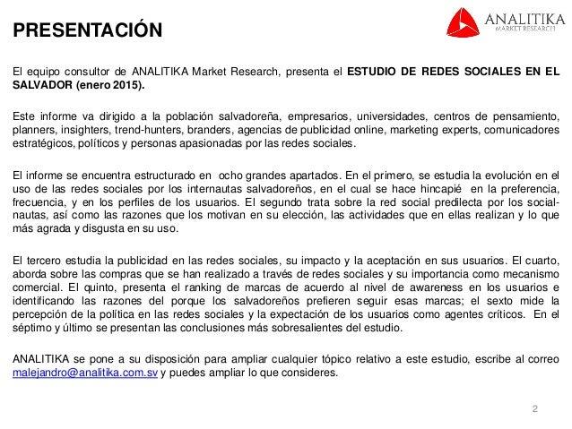 Estudio de Redes Sociales 2015 (El Salvador) Slide 2